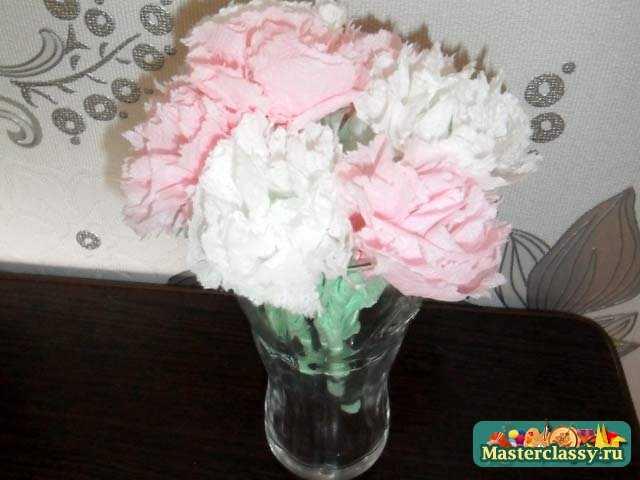 Цветы из салфеток. Гвоздики. Мастер класс
