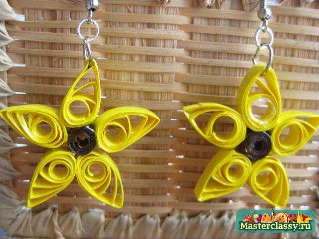 Летние серьги - желтые цветы. Мастер класс по квиллингу