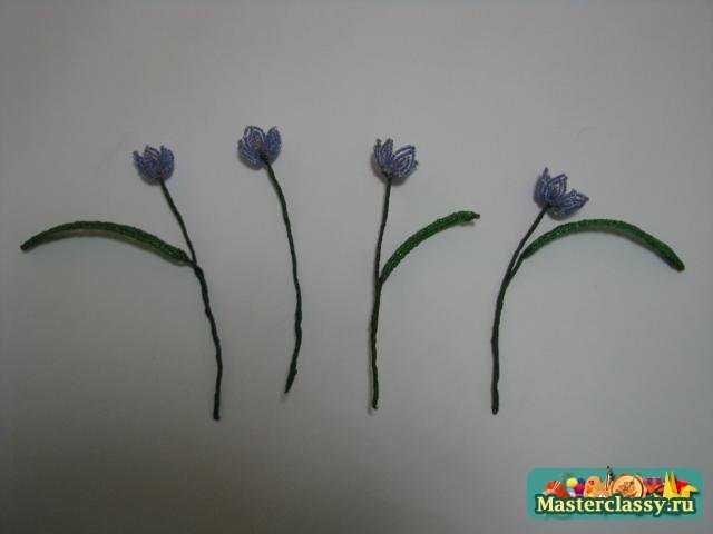 Цветы из бисера. Букетик пролесков в керамической вазочке. Мастер класс
