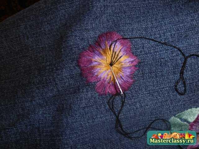 вышивка гладью цветка 8