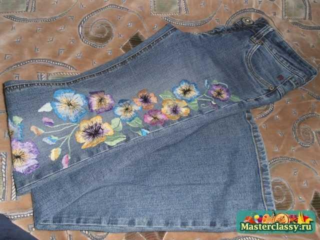 вышитые гладью джинсы 2