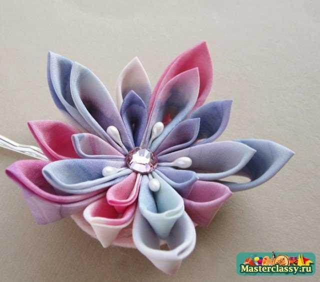 Цветок своими руками из лент