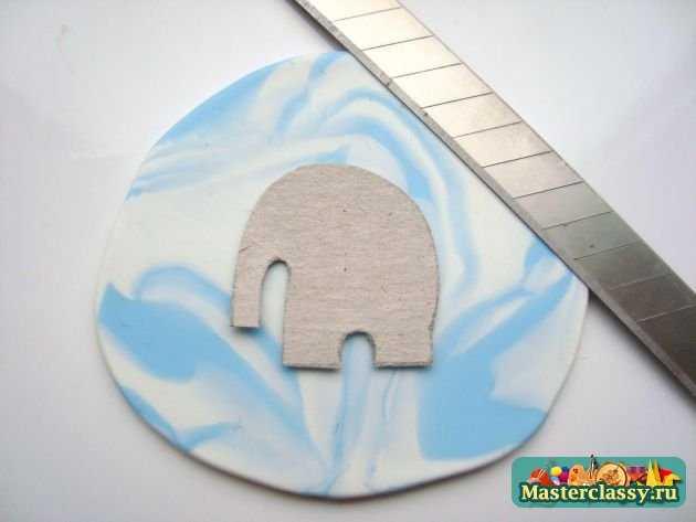 Серьги из пластики Небесные слоны ручной работы авторские пластика