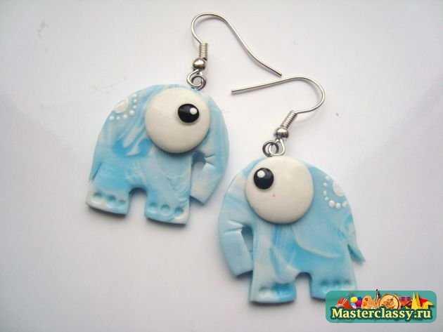 Серьги из пластики авторские слоны ручной работы
