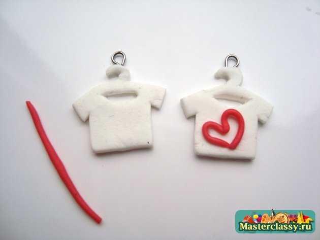 авторские серьги футболки полимерная глина
