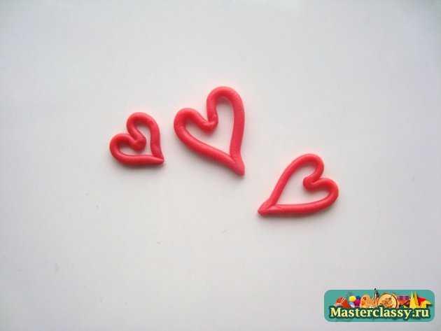 Серёжки из пластики Золотые сердца ручная работа