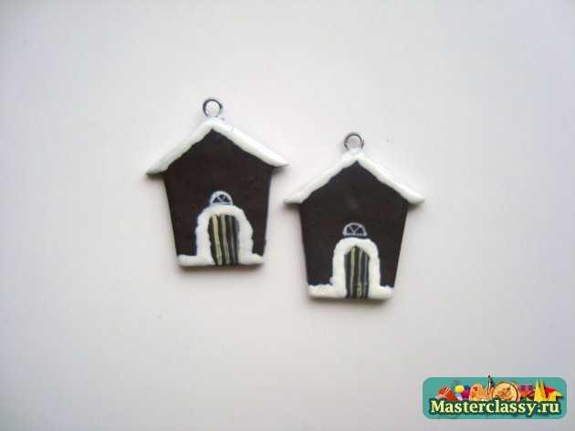 серьги рождественские домики из полимерной глины ручной работы