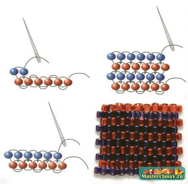 Браслет из бисера технология плетения