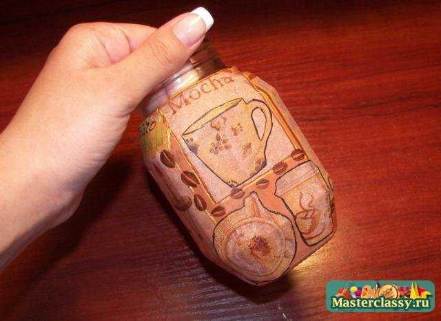Декупаж баночки для кофе с росписью. Пошаговый мастер класс