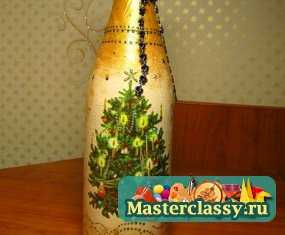 Декупаж бутылки шампанского 2013