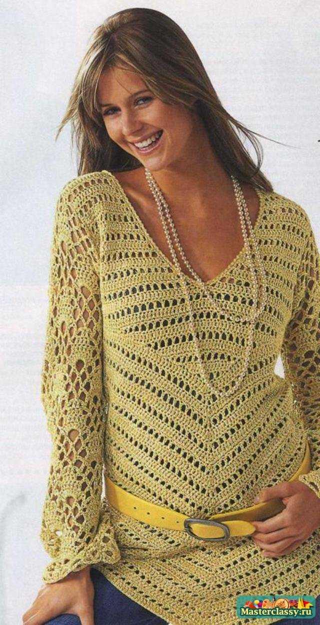 Вязание для беременных крючком. Пуловер
