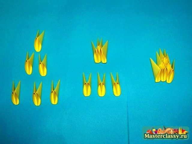 Сборка туловища и головы цыпленка оригами