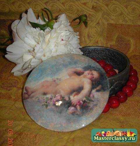 Декупаж шкатулки под старинное серебро спящий ангел МК с пошаговыми фото