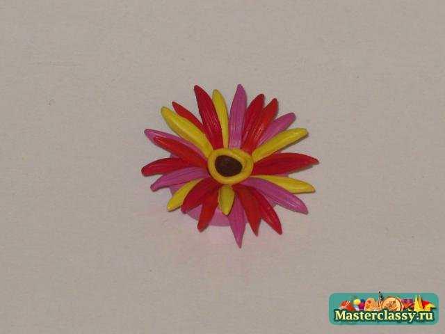 Украшения из полимерной глины. Комплект Гербера цветная. МК с пошаговыми фото