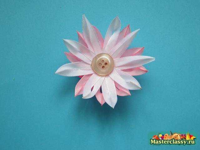 Канзаши резинка Розовое облако Мастер класс
