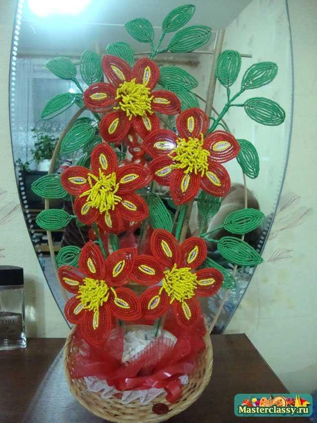 Цветы из бисера Клематис Мастер класс с пошаговыми фото