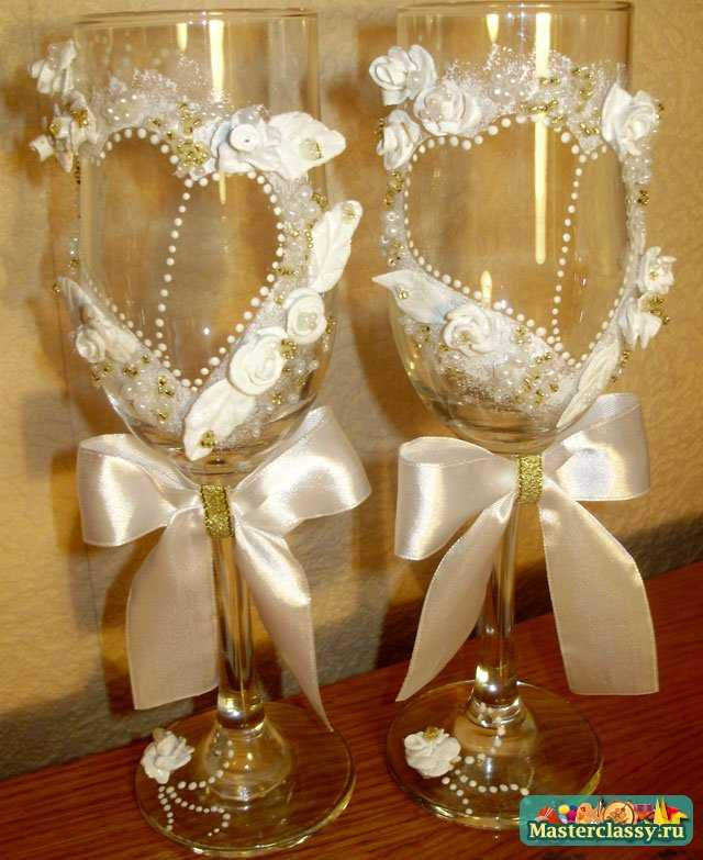 Свадьба своими руками. Украшения бокалов. Мастер класс