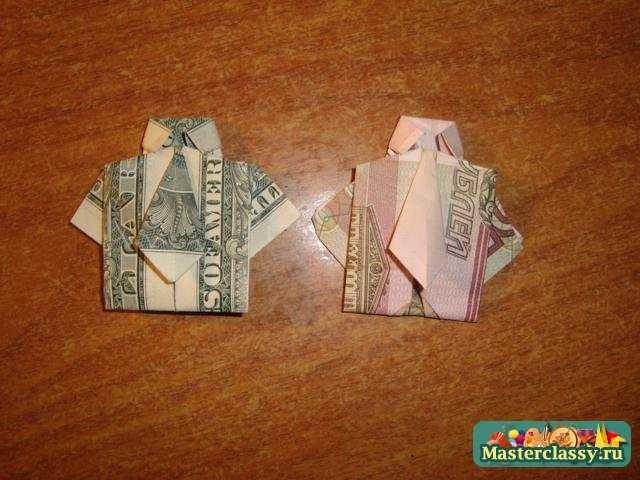 3a055595b70ad03 Оригами - деньги. Рубашка с галстуком. Пошаговый мастер класс с фото