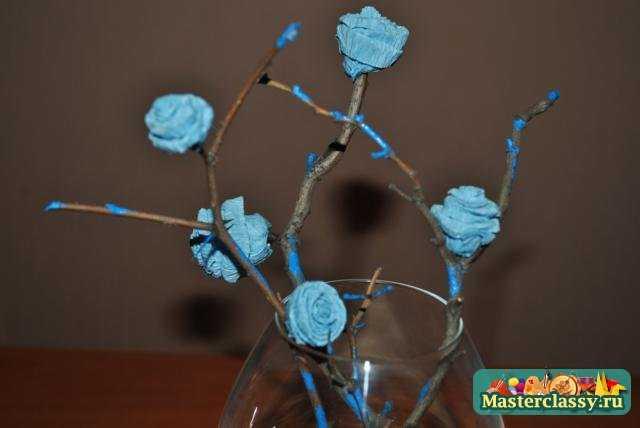 Поделки из бумаги. Ветвь миниатюрных роз. Мастер класс