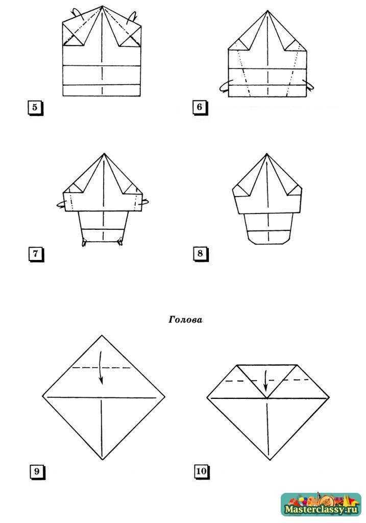 Оригами для детей. Девочка с хвостиками