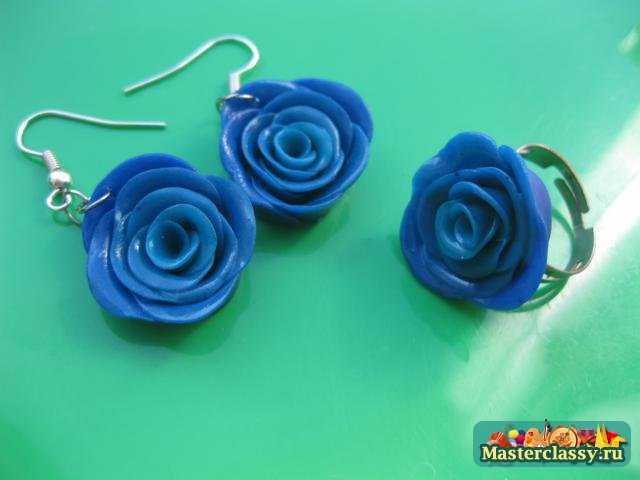 Серьги и кольцо Розы из полимерной глины. Мастер класс с пошаговыми фото