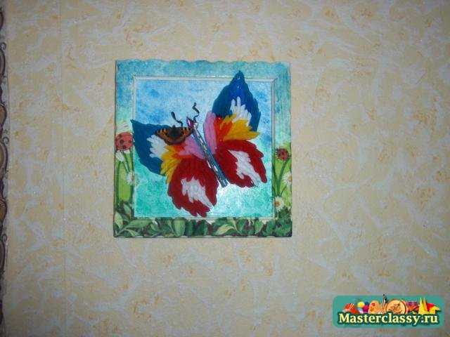 Бабочка. Картина из коктейльных трубочек. Мастер класс с фото