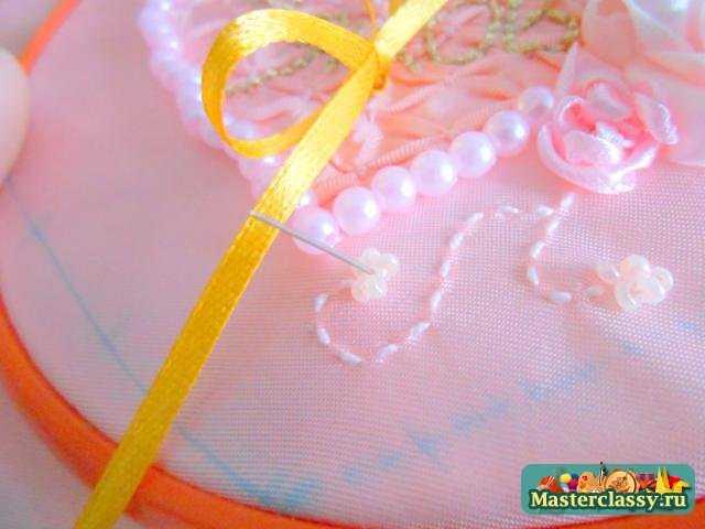 Свадебные мастер классы. Подушка для колец именная