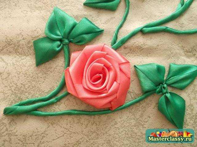 Картина из лент. Садовая роза. Мастер класс с пошаговыми фото