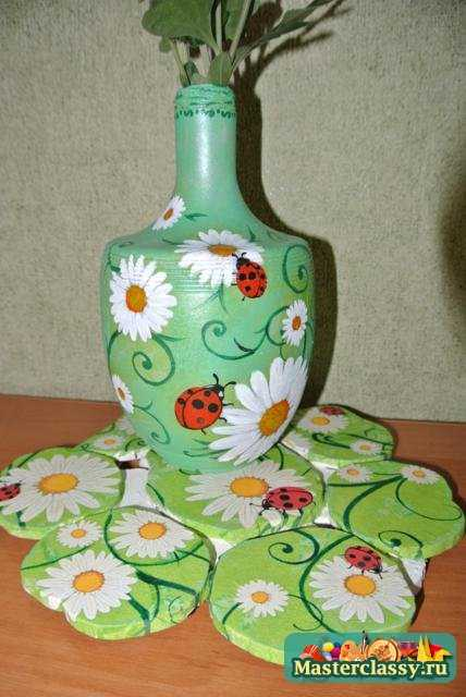 Подставка под горячее и ваза в технике декупаж. Мастер класс с пошаговыми фото