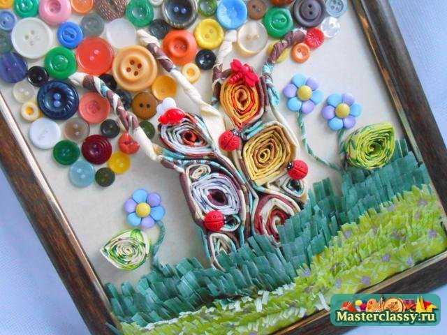 Картина своими руками для детской комнаты Чудо-дерево. Мастер класс с пошаговыми фото