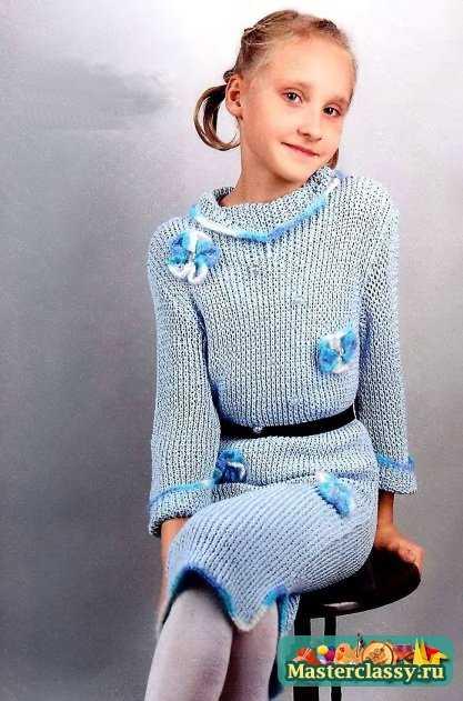 Вязанные платье для девочки 8 лет