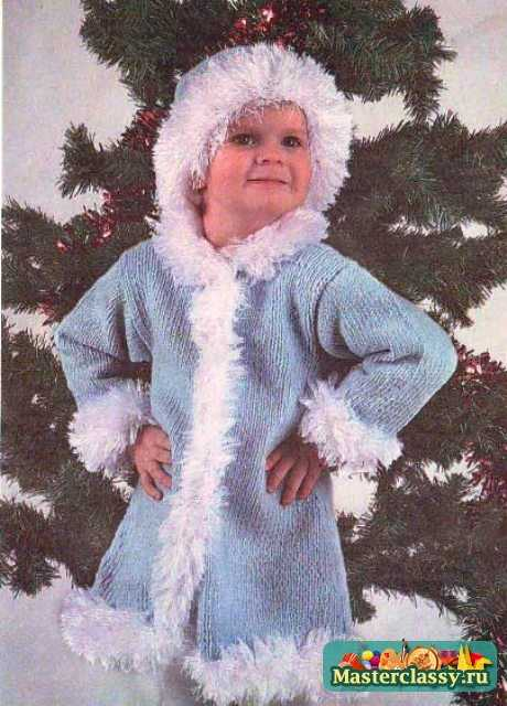 вязаный костюм снегурочки для девочки