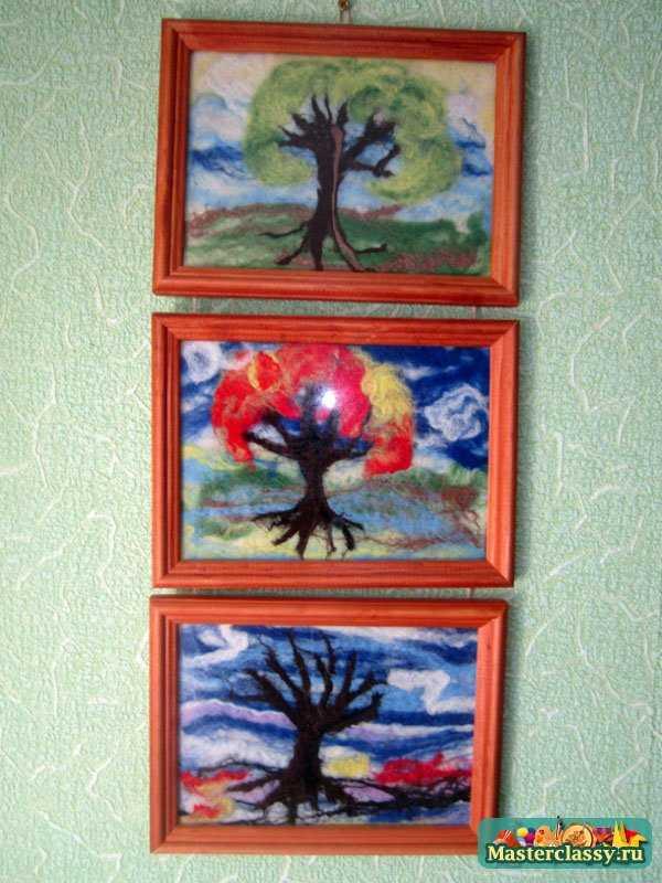 Картины из войлока. Осень. Мастер класс с пошаговыми фото