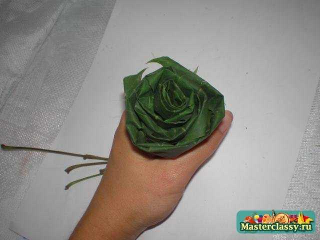 Розы из листьев. Мастер класс с пошаговыми фото