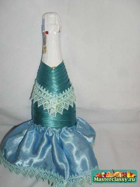 Украшение бутылок шампанского. Снегурочка. Мастер класс с пошаговыми фото