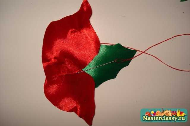 Цветы из атласных лент. Символ Рождества – Пуансеттия.