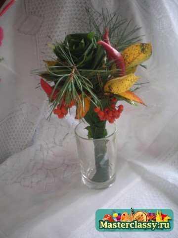 Букеты из кленовых листьев. Мастер класс с пошаговыми фото