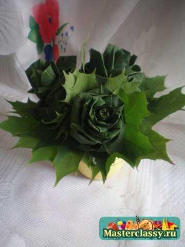 Как сделать розы из осенних листьев. Мастер класс с пошаговыми фото
