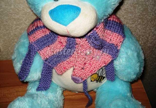 Вязание для детей. Шарфик «Мышка - обнимашка». Мастер класс с фото.