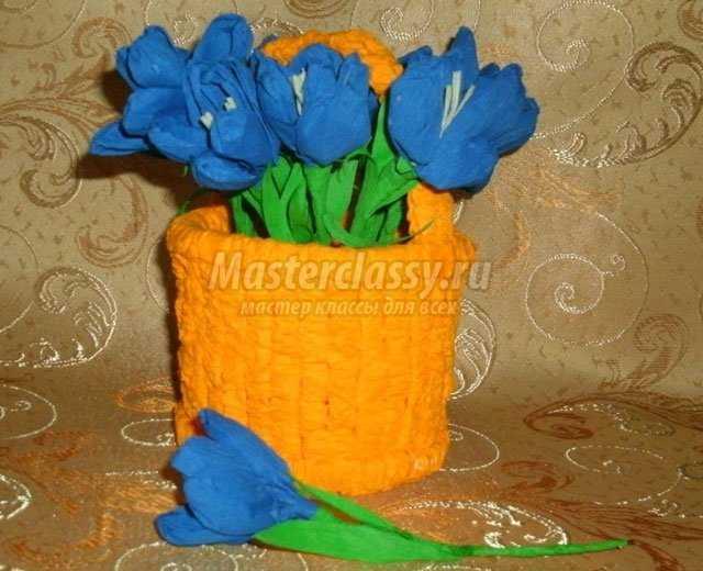 Поделки на День Матери. Корзинка с крокусами. Мастер класс с пошаговыми фото