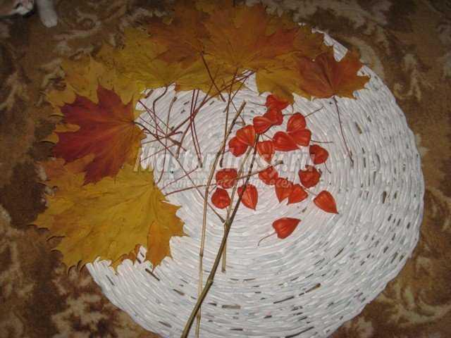 Осеннее панно из газетных трубочек. Мастер класс с фото