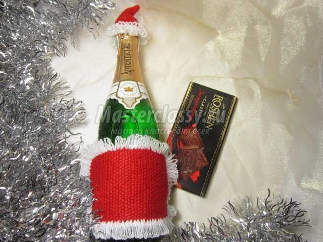 Украшение на бутылку Дед Мороз