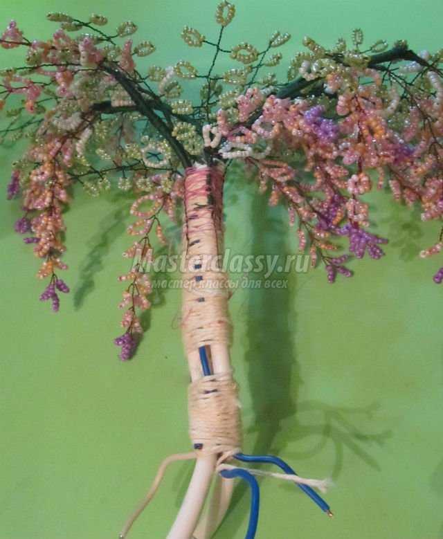 дерево глицинии из бисера. Мастер класс с пошаговым фото