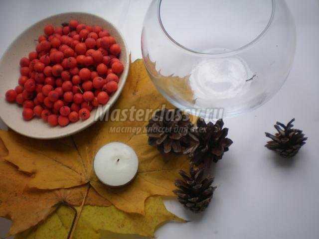 Осенний декор подсвечника