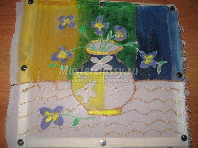 техника холодного батика. Натюрморт для мамы Три цвета. Мастер класс с пошаговым фото