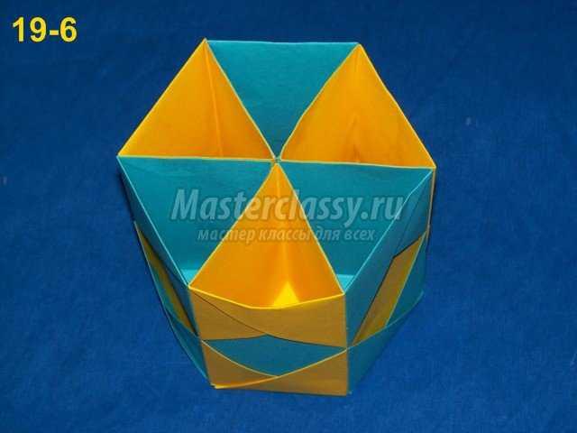 Сборка оригами карандашницы