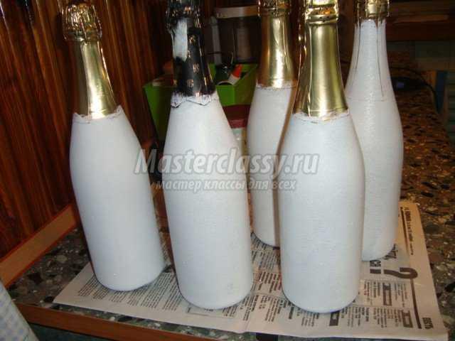 Новогоднее шампанское в технике декупаж
