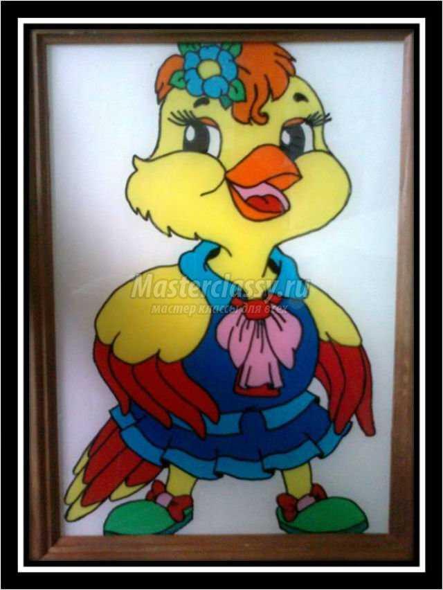 пластилиновая живопись. Картина цыпленок