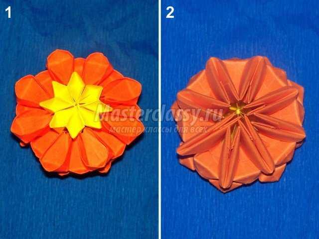 Сборка цветка кактуса оригами