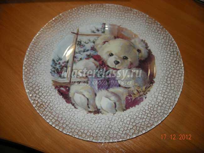 Новогодняя тарелочка с обратным декупажем